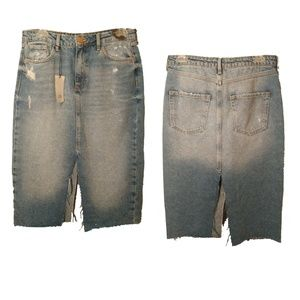 River Island Distressed Denim Skirt